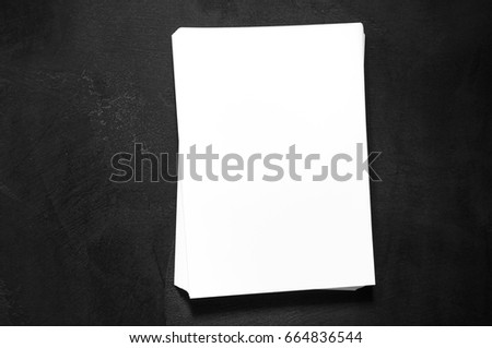 Blank stationery template for placing your design.  Mock up for branding identity. Top view.  #664836544