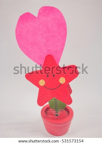 blank sticky heart for love on smile pot , white background #531573154