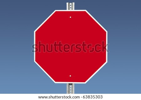 Blank stop sign on a gradient blue sky. - stock photo
