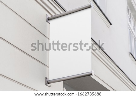 Blank store signage sign design mockup isolated, Clear shop template. Street hanging mounted on the wall. Signboard for logo presentation. Metal flag cafe restaurant bar plastic badge black white.  Foto stock ©