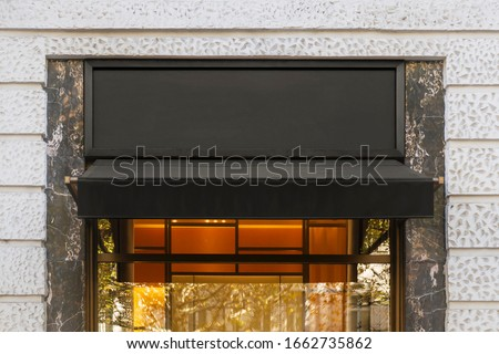 Blank store signage sign design mockup isolated, Clear shop template. Street hanging mounted on the wall. Signboard for logo presentation. Metal fashion cafe restaurant bar plastic badge black white.  Foto stock ©