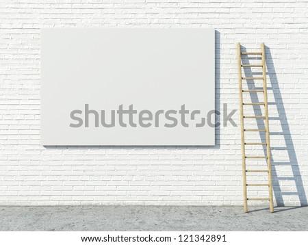 Blank street advertising billboard on brick wall - stock photo