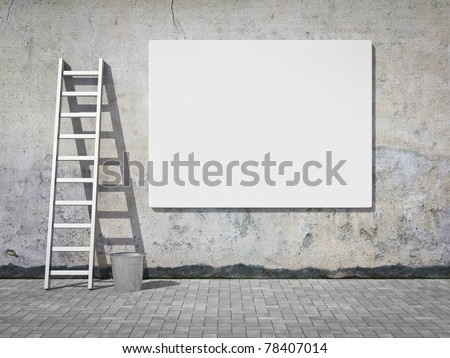 Blank street advertising billboard on dirty grunge wall
