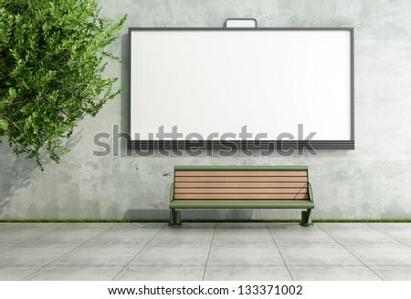 Blank street billboard on grunge wall with bench - rendering