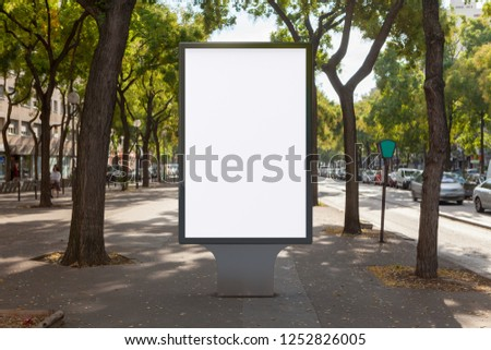 Blank street billboard poster stand on boulevard. 3d illustration.