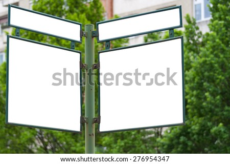 Blank street intersection sign with blank advertising