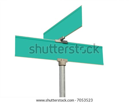 Blank street signs isolated on white background