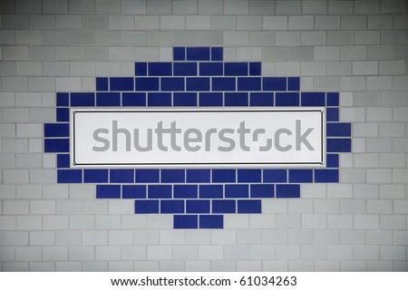 Blank subway wall sign.