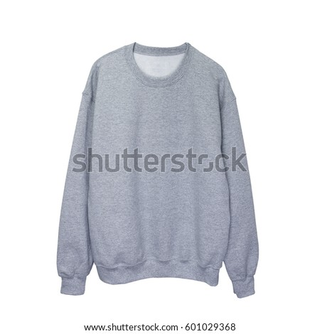 Blank sweatshirt grey color mock up template on white background