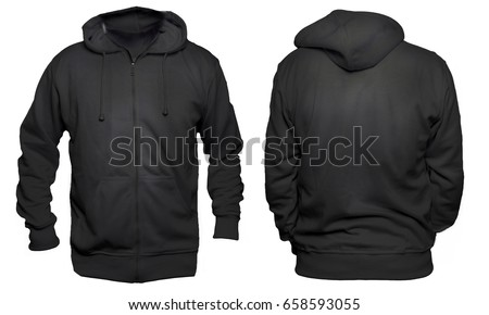 Blank sweatshirt mock up template, front, and back view, isolated on white, plain black hoodie mockup. Hoody design presentation. Jumper for print. Blank clothes sweat shirt sweater #658593055