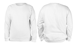 Blank sweatshirt mock up template, front, and back view, isolated, plain white long sleeved sweater mockup. T-shirt design presentation. Jumper for print. Blank clothes sweat shirt sweater