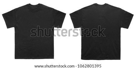 Blank T Shirt color black template front and back view on white background  #1062801395