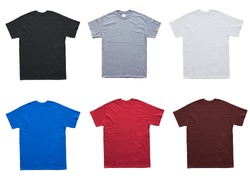 Blank T Shirt 6 color template on white background