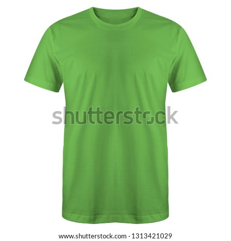 Blank t shirt green color isolated on white background, ready for mock up template
