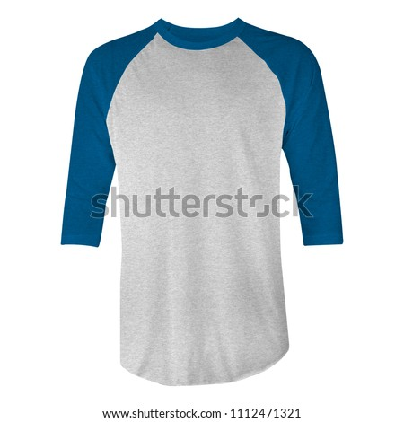 blank t-shirt raglan 3/4 sleeves with blue and heather grey color in front view for mockup template. isolated white background