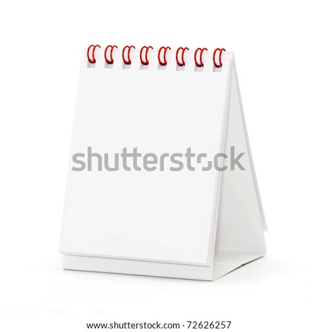 Blank table calendar over a white background