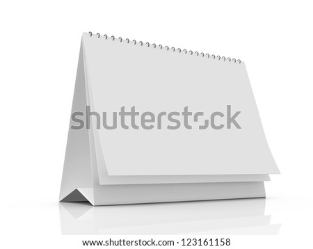 Blank table calendar with pages, isolated on white background.