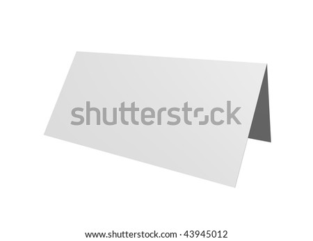 blank table card on white background - 3d illustration