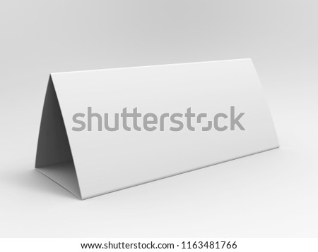 Blank table tent calendar for mockup design. 3d render illustration.