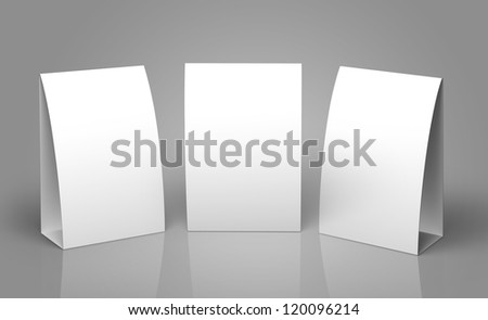 Blank Table Tent isolated on grey background