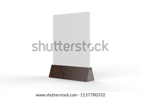 Blank table tent mock up template on isolated white background, Stand for acrylic tent card Used for Menu Bar and restaurant, 3d illustration