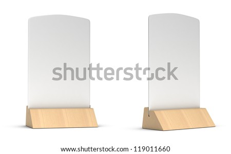 blank table tent sign in two different positions for restaurant communication