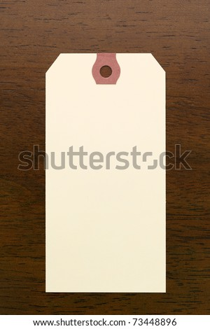 Blank tag on wooden table