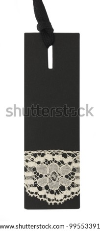 blank tag or label with lace isolated on the white background