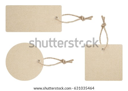 Blank tag tied for hang on product for show price or discount isolate on white background with clipping path