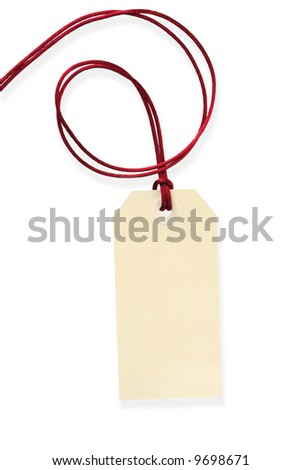 Blank tag tied with silky red cord.  Isolated on white, with shadow.  Ready for your message.
