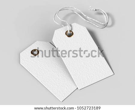 Blank tag tied with string. Price tag, gift tag, sale tag, address label isolated on grey background. 3d render illustration.