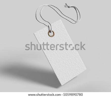 Blank tag tied with string. Price tag, gift tag, sale tag, address label isolated on grey background. 3d render illustration