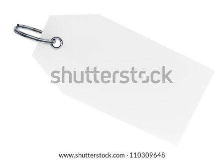 Blank tag with metal ring on a white background