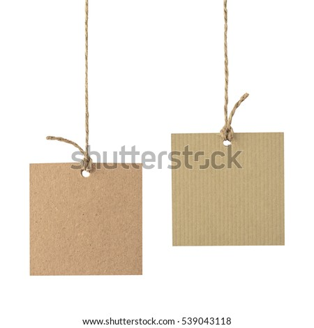 Blank  tags hang on the rope isolated on white #539043118