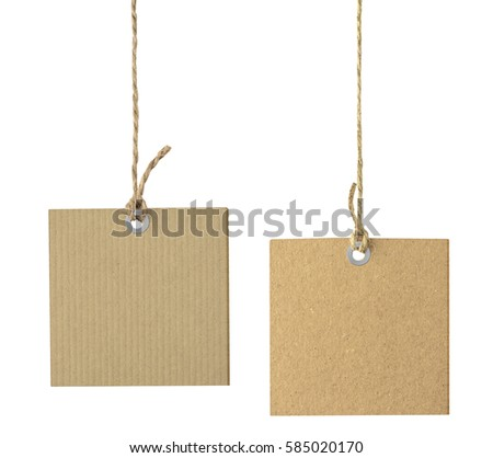 Blank tags hanging on the rope isolated on white #585020170
