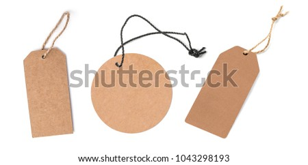 Blank tags tied with string. Price tag, gift tag, sale tag, address label.