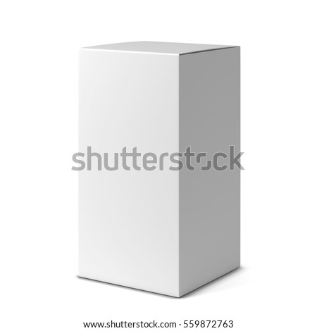 Blank tall box . 3d illustration isolated on white background