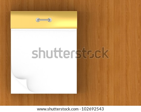 Blank tear-off calendar isolated on wooden background