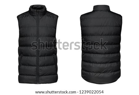 Blank template black waistcoat down jacket sleeveless with zipped, front and back view isolated on white background. Mockup winter sport vest  Foto stock ©