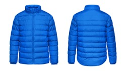 Blank template blue down jacket with zipped, front and back view isolated on white background. Mockup winter sport jacket