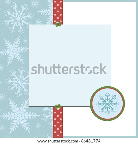 Blank template for Christmas greetings card, postcard or photo farme
