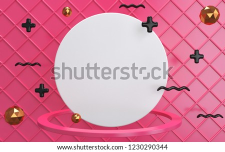 Blank template for flyer or advertisement. White circle in ring on background of pink cell. Signs of arithmetic addition and black wavy lines on a pink background.3D rendering