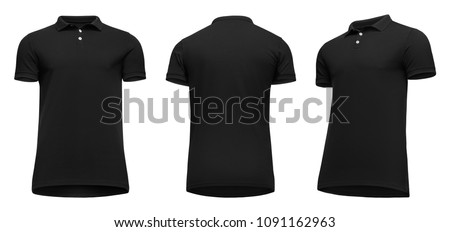 Blank template men black polo shirt short sleeve, front and back view half turn bottom-up, isolated on white background with clipping path. Mockup concept t-shirt for design and print.