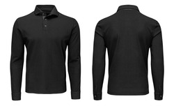 Blank template mens black polo shirt long sleeve, front and back view, isolated on white background with clipping path. Design sweatshirt mockup for print.