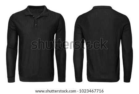 Blank template mens black shirt long sleeve, front and back view, isolated on white background with clipping path. Design sweatshirt mockup for print. #1023467716
