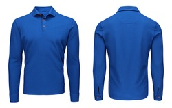 Blank template mens blue polo shirt long sleeve, front and back view, isolated on white background with clipping path. Design sweatshirt mockup for print.