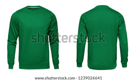 Blank template mens green sweatshirt long sleeve, front and back view, isolated on white background with clipping path. Design pullover mockup for print.
