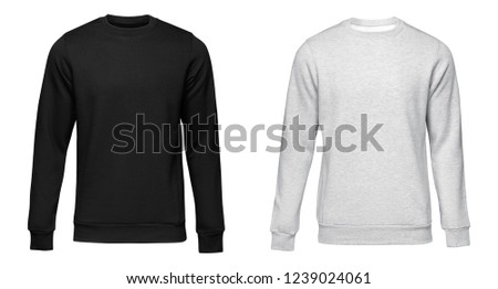 Blank template mens grey and black pullover long sleeve, front and back view, isolated on white background with clipping path. Design sweatshirt mockup for print.