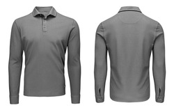 Blank template mens grey polo shirt long sleeve, front and back view, isolated on white background with clipping path. Design sweatshirt mockup for print.