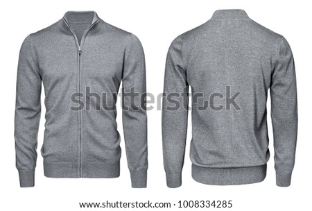 Blank template mens grey sweatshirt long sleeve, front and back view, isolated on white background with clipping path. Design pullover mockup for print.